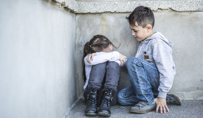 Empathy consoling child